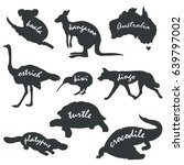 vector silhouettes of animals... | Shutterstock .eps vector #639797002