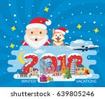 merry christmas banner in flat... | Shutterstock .eps vector #639805246