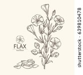 background with flax  seed ...   Shutterstock .eps vector #639810478