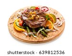 grilled beef steak with... | Shutterstock . vector #639812536
