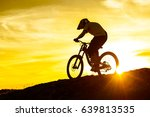 silhouette of cyclist riding... | Shutterstock . vector #639813535