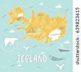 iceland hand drawn cartoon map. ...   Shutterstock .eps vector #639823615