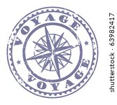 Grunge Rubber Stamp With Compass And The Text Voyage Written Inside Vector Illustration