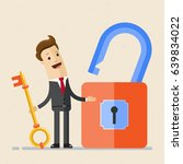 businessman hold a key from a... | Shutterstock .eps vector #639834022