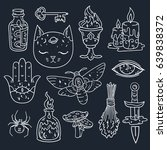 cool set with magic attributes  ... | Shutterstock .eps vector #639838372