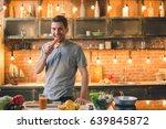 young man vegan healthy food... | Shutterstock . vector #639845872