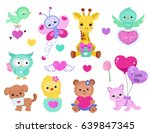 collection of cute cute animals ... | Shutterstock .eps vector #639847345