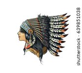american indian girl in... | Shutterstock .eps vector #639851038