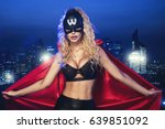 superhero woman. young and... | Shutterstock . vector #639851092