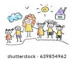 kids drawing back to school... | Shutterstock . vector #639854962