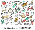 set of hand drawn sport doodle... | Shutterstock .eps vector #639871345