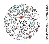 set of hand drawn baby and... | Shutterstock .eps vector #639871366