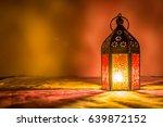 eid orange lamp or lantern for...   Shutterstock . vector #639872152