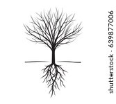 black naked trees and roots.... | Shutterstock .eps vector #639877006