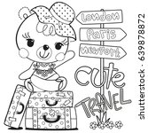 coloring page  cute cartoon... | Shutterstock .eps vector #639878872