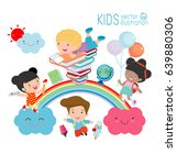 education kids and rainbow ...   Shutterstock .eps vector #639880306