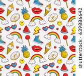colorful seamless pattern with... | Shutterstock .eps vector #639886642