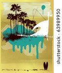 surf poster with wave and palms ... | Shutterstock .eps vector #63989950