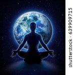 yoga woman on the world.... | Shutterstock . vector #639909715