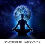 yoga woman on the world.... | Shutterstock . vector #639909748