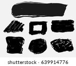 set of black paint  ink brush... | Shutterstock .eps vector #639914776