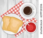 coffee  toasts and jam....   Shutterstock .eps vector #639918106