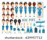 air hostess character creation... | Shutterstock .eps vector #639957712