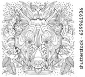 adult coloring wolf face | Shutterstock .eps vector #639961936
