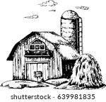 farm buildings. a stack of hay. ... | Shutterstock .eps vector #639981835