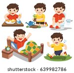 the daily routine of a cute boy ... | Shutterstock .eps vector #639982786