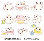 collection of cute pandas with... | Shutterstock .eps vector #639988342