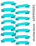 set of blue cartoon ribbons and ... | Shutterstock .eps vector #639995092