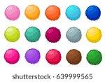 colorful fluffy pompom fur... | Shutterstock .eps vector #639999565