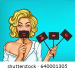 vector pop art illustration of... | Shutterstock .eps vector #640001305