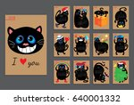 calendar with funny cats for... | Shutterstock .eps vector #640001332