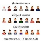 avatars characters set of... | Shutterstock .eps vector #640001668
