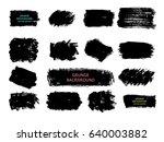 set of black paint  ink brush... | Shutterstock .eps vector #640003882
