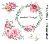 watercolor bouquets of flowers...   Shutterstock . vector #640004512