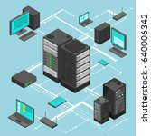 data network management vector... | Shutterstock .eps vector #640006342