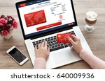 woman typing laptop keyboard... | Shutterstock . vector #640009936