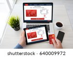 man hands holding tablet laptop ... | Shutterstock . vector #640009972