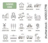 farming icons. set of vector... | Shutterstock .eps vector #640015798