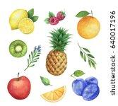 watercolor organic set of... | Shutterstock . vector #640017196