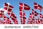Many Denmark Flags Waving In...