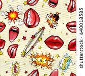 seamless pattern cartoon comic... | Shutterstock .eps vector #640018585