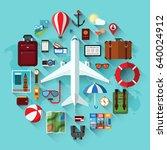 air travel  planning a summer... | Shutterstock .eps vector #640024912