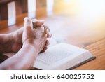 elder woman hands folded in... | Shutterstock . vector #640025752