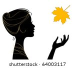 beautiful woman silhouette with ... | Shutterstock .eps vector #64003117