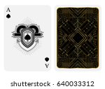 ace of spades in line style... | Shutterstock .eps vector #640033312