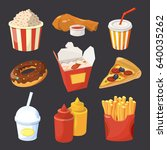 vector collection of fast food... | Shutterstock .eps vector #640035262